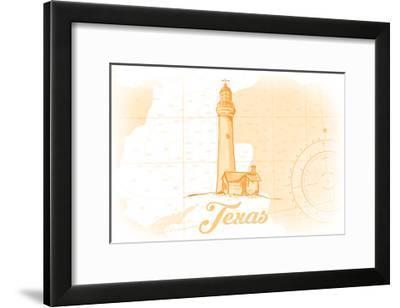 Texas - Lighthouse - Yellow - Coastal Icon-Lantern Press-Framed Art Print