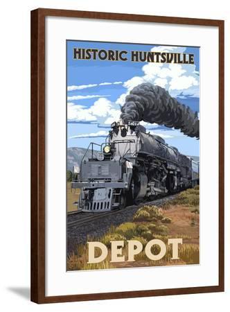 Huntsville, Alabama - Huntsville Depot - Steam Locomotive-Lantern Press-Framed Art Print