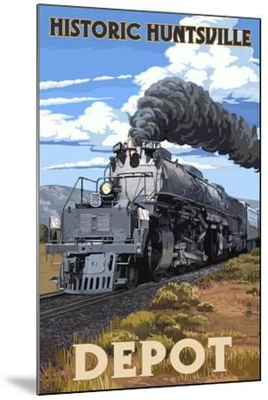 Huntsville, Alabama - Huntsville Depot - Steam Locomotive-Lantern Press-Mounted Art Print