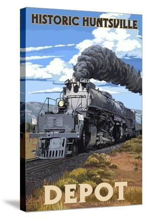 Huntsville, Alabama - Huntsville Depot - Steam Locomotive-Lantern Press-Stretched Canvas Print