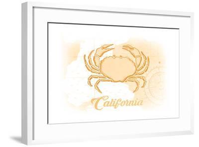 California - Crab - Yellow - Coastal Icon-Lantern Press-Framed Art Print