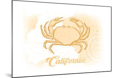 California - Crab - Yellow - Coastal Icon-Lantern Press-Mounted Art Print