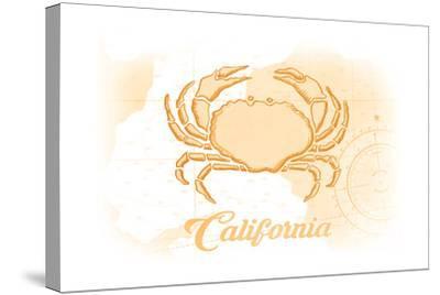 California - Crab - Yellow - Coastal Icon-Lantern Press-Stretched Canvas Print