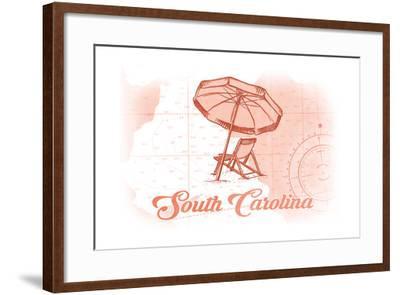 South Carolina - Beach Chair and Umbrella - Coral - Coastal Icon-Lantern Press-Framed Art Print