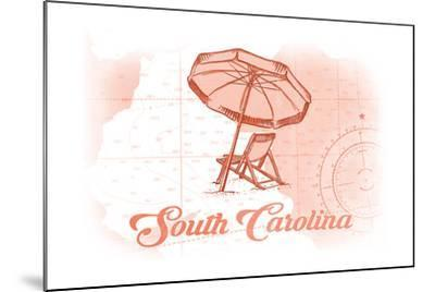 South Carolina - Beach Chair and Umbrella - Coral - Coastal Icon-Lantern Press-Mounted Art Print