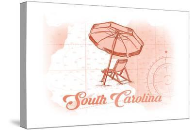South Carolina - Beach Chair and Umbrella - Coral - Coastal Icon-Lantern Press-Stretched Canvas Print