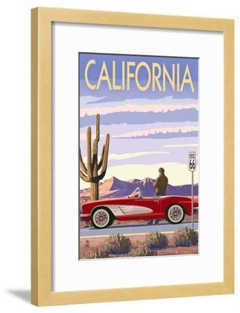 California - Route 66 - Corvette-Lantern Press-Framed Art Print
