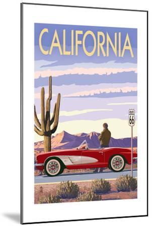 California - Route 66 - Corvette-Lantern Press-Mounted Art Print