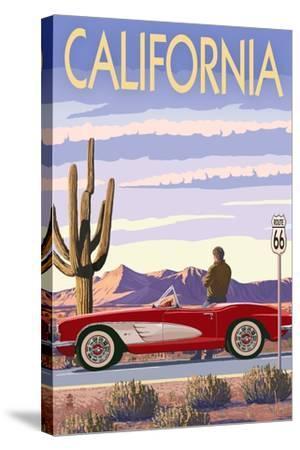 California - Route 66 - Corvette-Lantern Press-Stretched Canvas Print