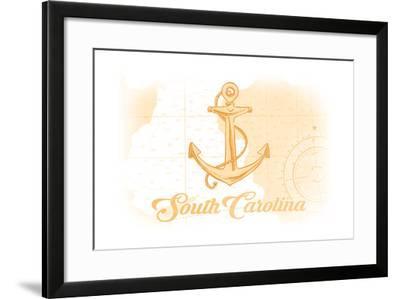 South Carolina - Anchor - Yellow - Coastal Icon-Lantern Press-Framed Art Print