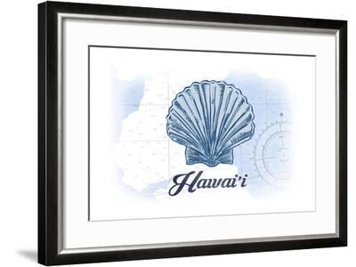 Hawaii - Scallop Shell - Blue - Coastal Icon-Lantern Press-Framed Art Print