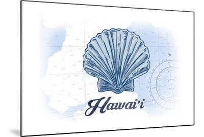 Hawaii - Scallop Shell - Blue - Coastal Icon-Lantern Press-Mounted Art Print