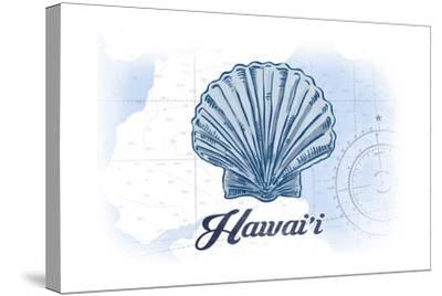 Hawaii - Scallop Shell - Blue - Coastal Icon-Lantern Press-Stretched Canvas Print