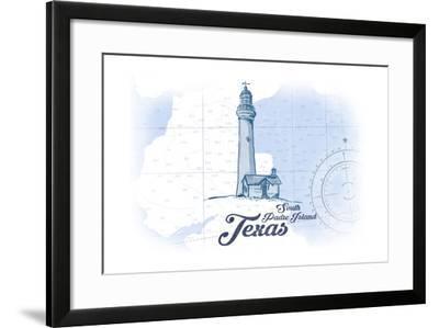 South Padre Island, Texas - Lighthouse - Blue - Coastal Icon-Lantern Press-Framed Art Print