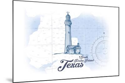 South Padre Island, Texas - Lighthouse - Blue - Coastal Icon-Lantern Press-Mounted Art Print