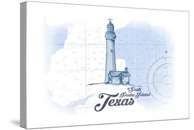 South Padre Island, Texas - Lighthouse - Blue - Coastal Icon-Lantern Press-Stretched Canvas Print