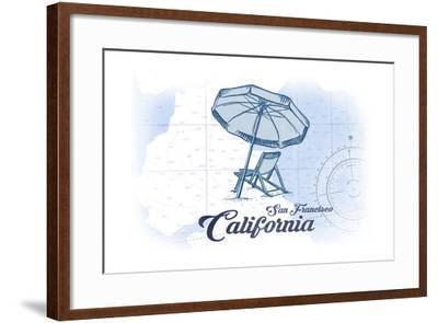 San Francisco, California - Beach Chair and Umbrella - Blue - Coastal Icon-Lantern Press-Framed Art Print