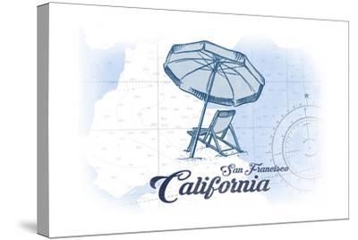 San Francisco, California - Beach Chair and Umbrella - Blue - Coastal Icon-Lantern Press-Stretched Canvas Print