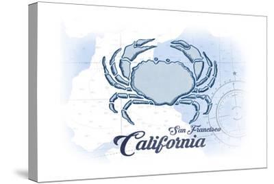 San Francisco, California - Crab - Blue - Coastal Icon-Lantern Press-Stretched Canvas Print