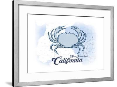 San Francisco, California - Crab - Blue - Coastal Icon-Lantern Press-Framed Art Print