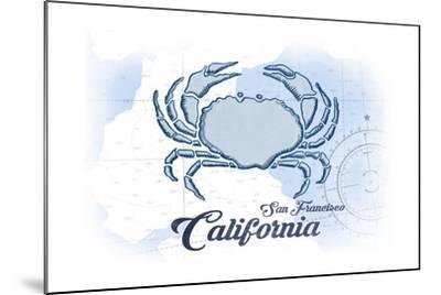 San Francisco, California - Crab - Blue - Coastal Icon-Lantern Press-Mounted Art Print