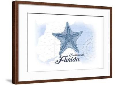 Jacksonville, Florida - Starfish - Blue - Coastal Icon-Lantern Press-Framed Art Print