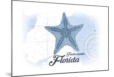 Jacksonville, Florida - Starfish - Blue - Coastal Icon-Lantern Press-Mounted Art Print