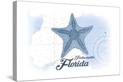 Jacksonville, Florida - Starfish - Blue - Coastal Icon-Lantern Press-Stretched Canvas Print
