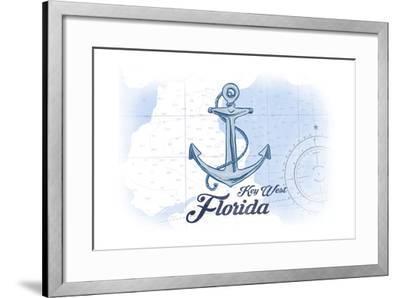 Key West, Florida - Anchor - Blue - Coastal Icon-Lantern Press-Framed Art Print