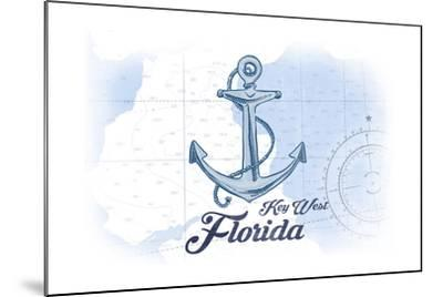 Key West, Florida - Anchor - Blue - Coastal Icon-Lantern Press-Mounted Art Print