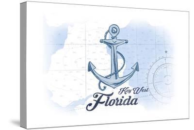 Key West, Florida - Anchor - Blue - Coastal Icon-Lantern Press-Stretched Canvas Print