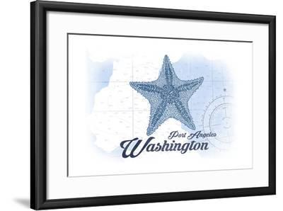 Port Angeles, Washington - Starfish - Blue - Coastal Icon-Lantern Press-Framed Art Print