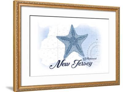 Wildwood, New Jersey - Starfish - Blue - Coastal Icon-Lantern Press-Framed Art Print
