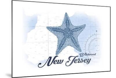 Wildwood, New Jersey - Starfish - Blue - Coastal Icon-Lantern Press-Mounted Art Print
