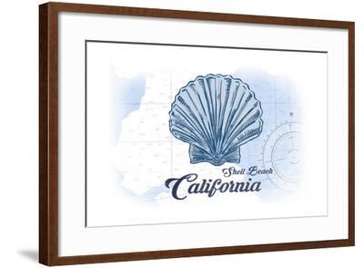 Shell Beach, California - Scallop Shell - Blue - Coastal Icon-Lantern Press-Framed Art Print