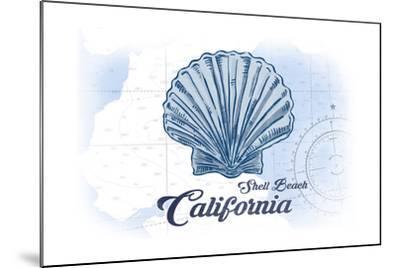 Shell Beach, California - Scallop Shell - Blue - Coastal Icon-Lantern Press-Mounted Art Print