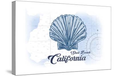 Shell Beach, California - Scallop Shell - Blue - Coastal Icon-Lantern Press-Stretched Canvas Print