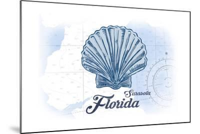 Sarasota, Florida - Scallop Shell - Blue - Coastal Icon-Lantern Press-Mounted Art Print