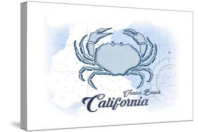 Venice Beach, California - Crab - Blue - Coastal Icon-Lantern Press-Stretched Canvas Print