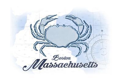 Boston, Massachusetts - Crab - Blue - Coastal Icon-Lantern Press-Framed Art Print