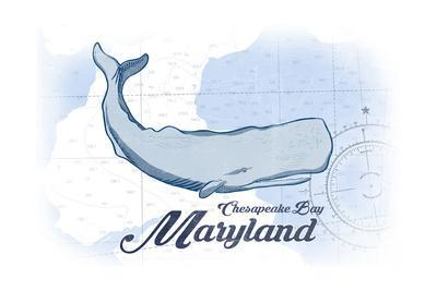 Chesapeake Bay, Maryland - Whale - Blue - Coastal Icon-Lantern Press-Framed Art Print
