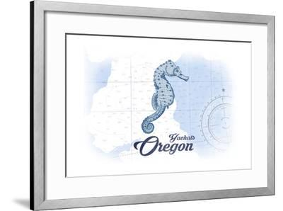 Yachats, Oregon - Seahorse - Blue - Coastal Icon-Lantern Press-Framed Art Print