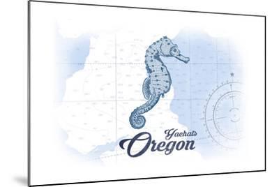 Yachats, Oregon - Seahorse - Blue - Coastal Icon-Lantern Press-Mounted Art Print