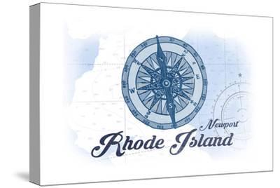 Newport, Rhode Island - Compass - Blue - Coastal Icon-Lantern Press-Stretched Canvas Print