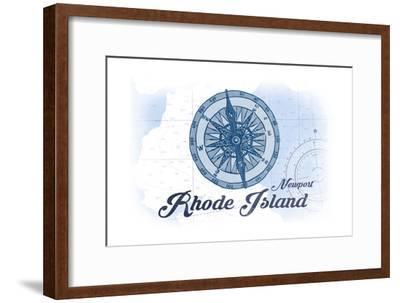 Newport, Rhode Island - Compass - Blue - Coastal Icon-Lantern Press-Framed Premium Giclee Print