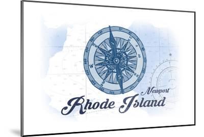 Newport, Rhode Island - Compass - Blue - Coastal Icon-Lantern Press-Mounted Premium Giclee Print