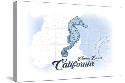 Venice Beach, California - Seahorse - Blue - Coastal Icon-Lantern Press-Stretched Canvas Print