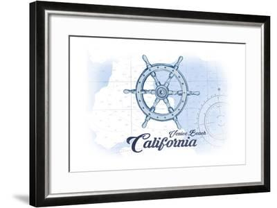 Venice Beach, California - Ship Wheel - Blue - Coastal Icon-Lantern Press-Framed Art Print