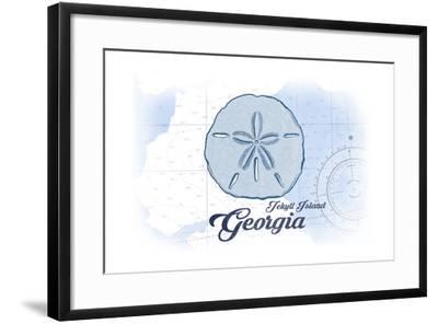 Jekyll Island, Georgia - Sand Dollar - Blue - Coastal Icon-Lantern Press-Framed Art Print