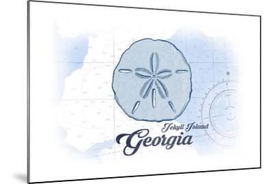 Jekyll Island, Georgia - Sand Dollar - Blue - Coastal Icon-Lantern Press-Mounted Art Print
